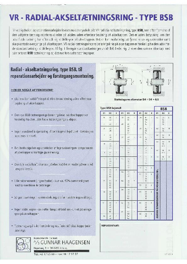 VR - Radial akseltætningsring type BSB