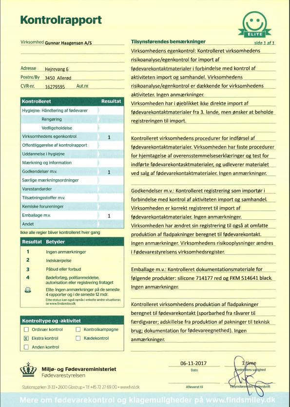 Kontrol rapport 2017