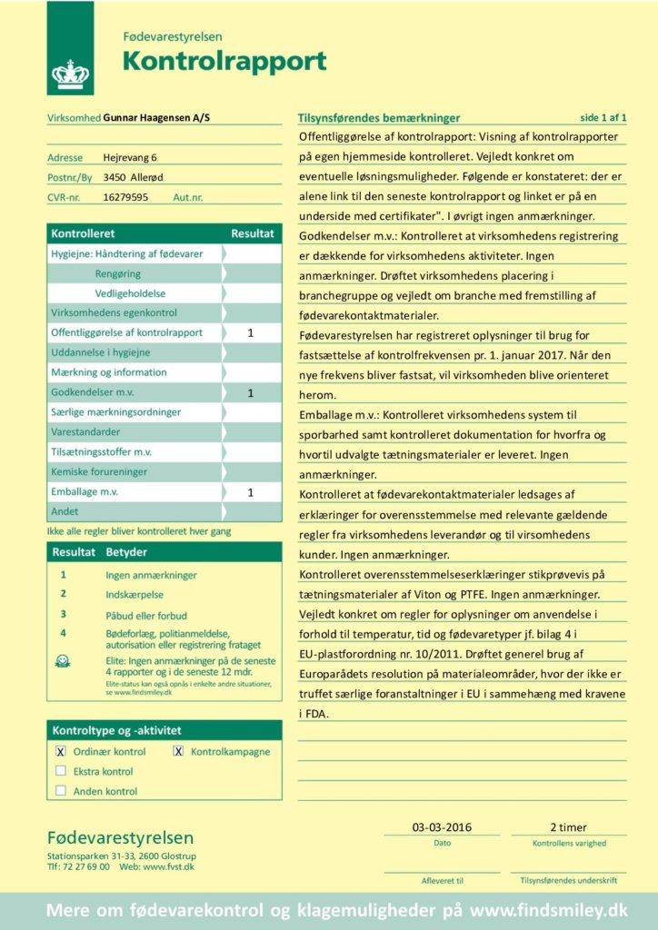 Kontrolrapport fra Fødevarestyrelsen
